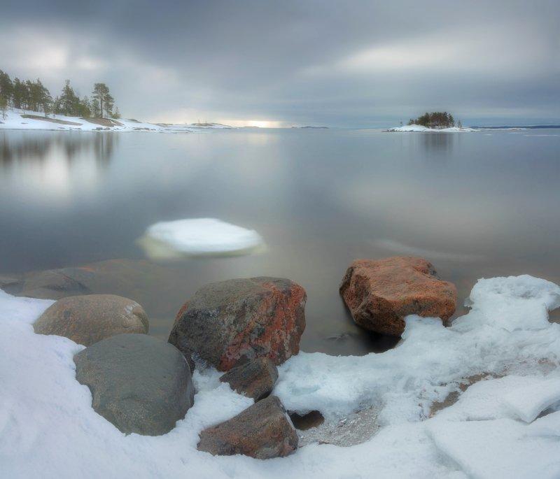 ладога, зима, шхеры, рассвет ,карелия Ладожская акварельphoto preview