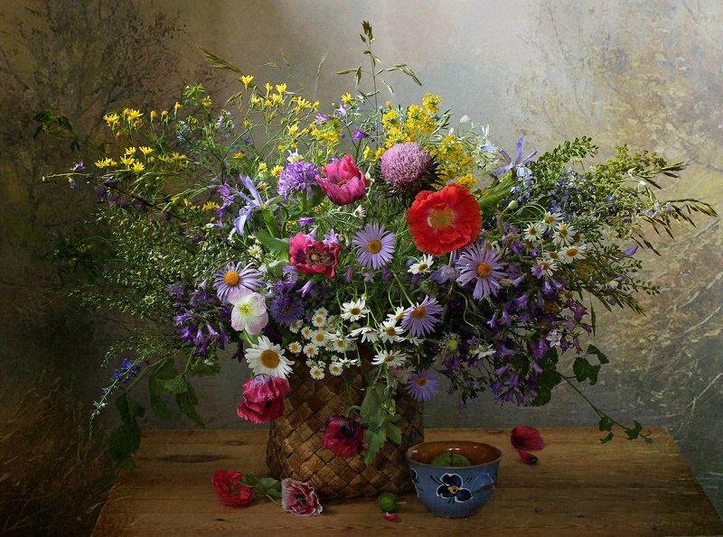 лето, натюрморт, букет цветов, маки,васильки,ромашки,  марина филатова Аромат цветущих лугов (2)photo preview
