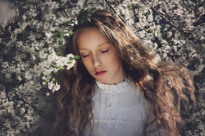 girl, portrait, west, tree, flowers, sun, spring Springphoto preview