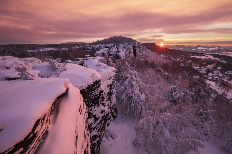 morning, snow, light, winter, elbe sandstone mountains, czech republic, czechia, trees, clouds, nature Candylandphoto preview