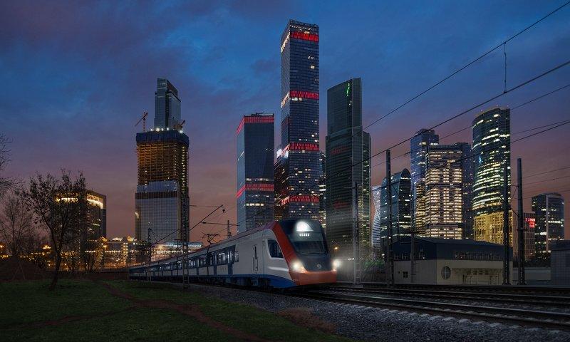 поезд, электричка, МЦД, Москва, город, МоскваСити, ночь, Иволга  ***photo preview