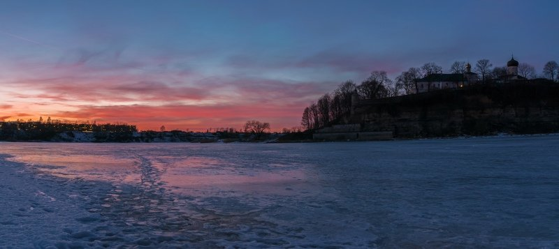 pskov, pleskau, псков, landscape, pskovregion, монастырь, sunset, закат, вечер, snow, frost, winter, зима, снег, мороз Закатphoto preview