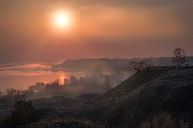 константиново, есенин, рассвет, ока, река, овраги, туман, утро, облака, настроение Туманный рассвет над Окойphoto preview