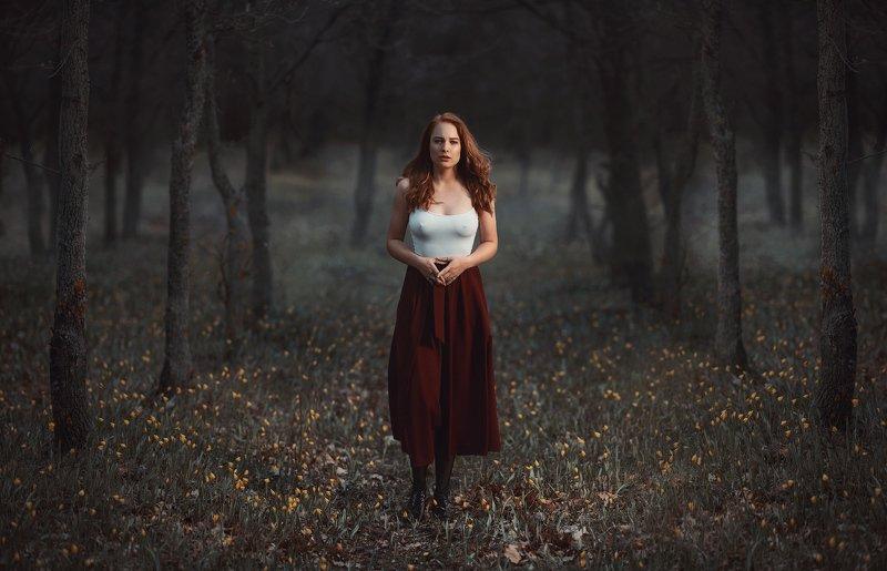 холодно, лес, девушка, цветы, весна, туман, деревья, юбка, рыжая Холодно в лесуphoto preview