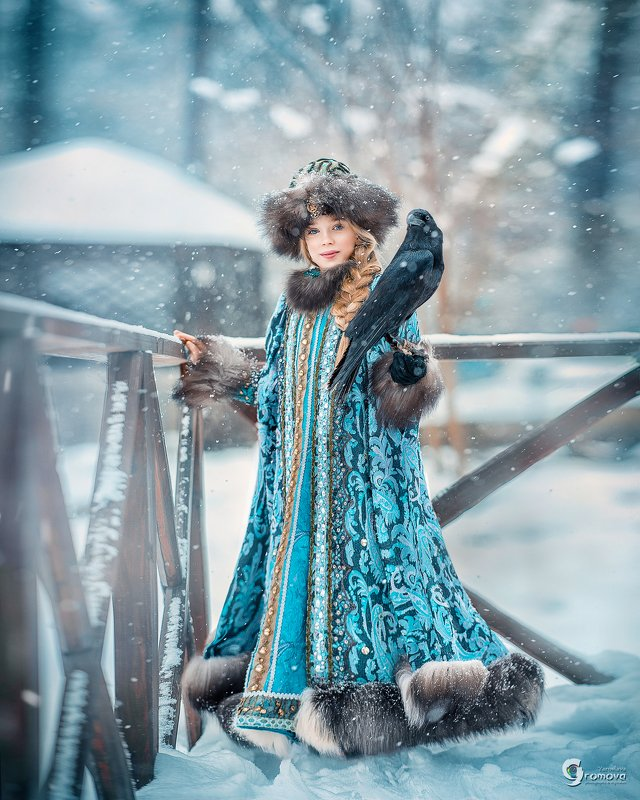 княжна, зима, сказка, ворона, ворон, снег, новый год, рождество, метель Княжна и воронphoto preview