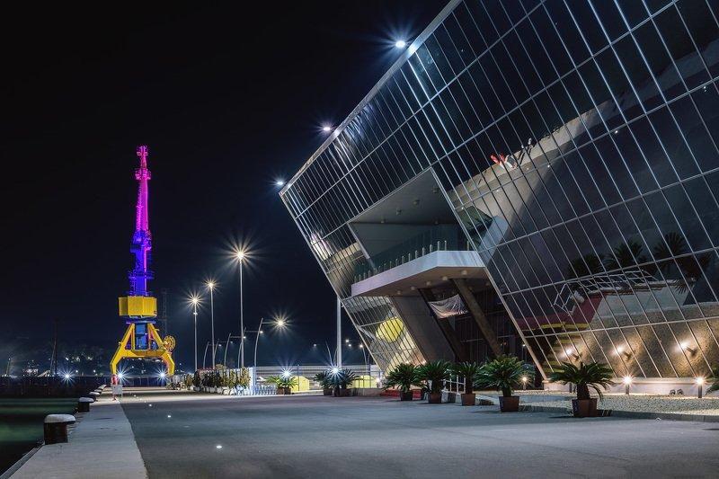ночь, вокзал, морской, порт, архитектура, бургас, болгария Морской вокзал, Бургас, Болгарияphoto preview