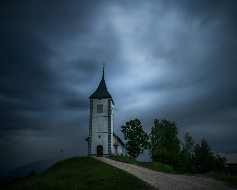 landscape nature scenery chapel church clouds blue bluehour mountain slovenia Lonely in the bluephoto preview