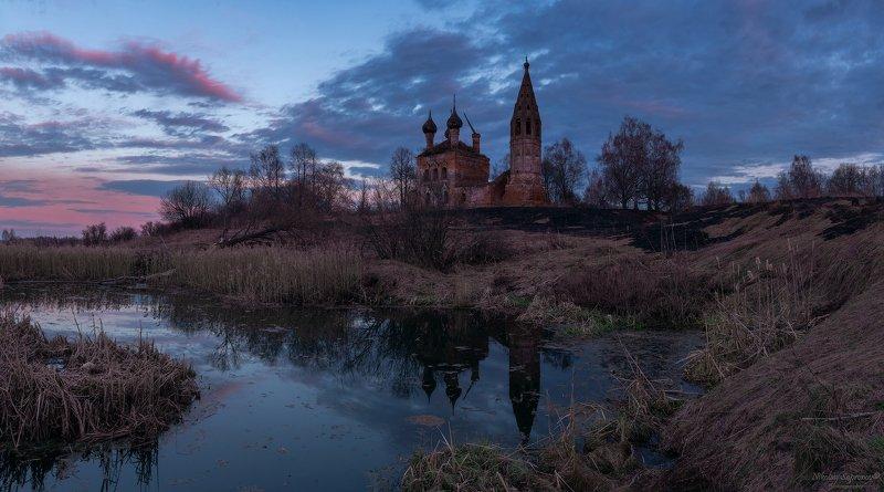 комстроская область, нерехта, нерехтский район, храмы, закат, отражение, панорамы, средняя полоса, весна \