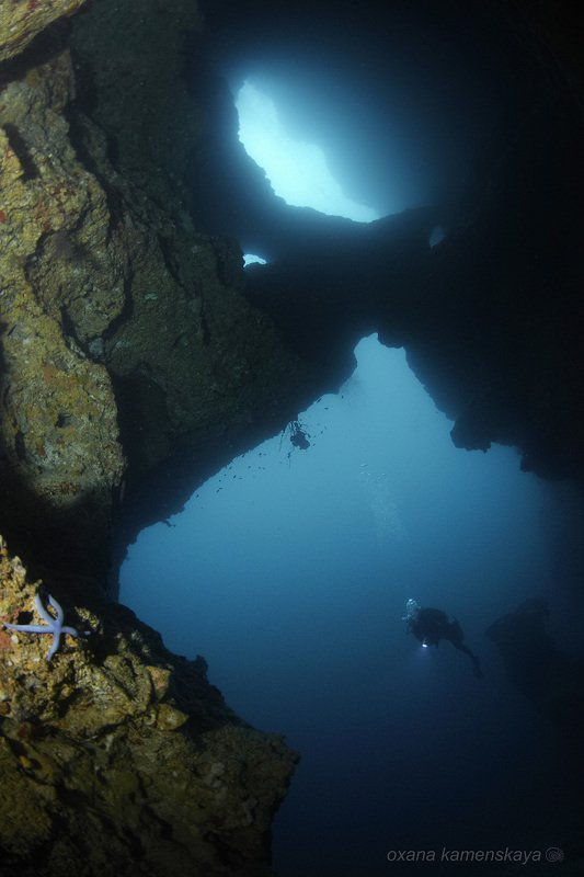 underwater phillipines blue deep diver star light cave Cathedralphoto preview