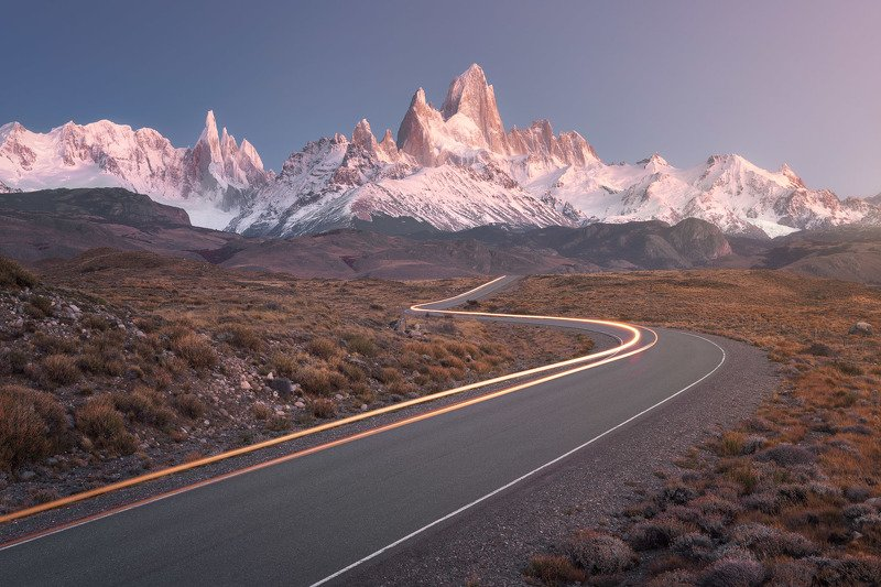 america, andes, argentina, autumn, beautiful, blue, canyon, cerro, chalten, el, fitz, fitzroy, glaciares, glacier, gorge, granite, hiking, iconic, landmark, landscape, monte, morning, mount, mountain, national, nature, outdoor, panorama, park, patagonia,  The Long and Winding Road фото превью