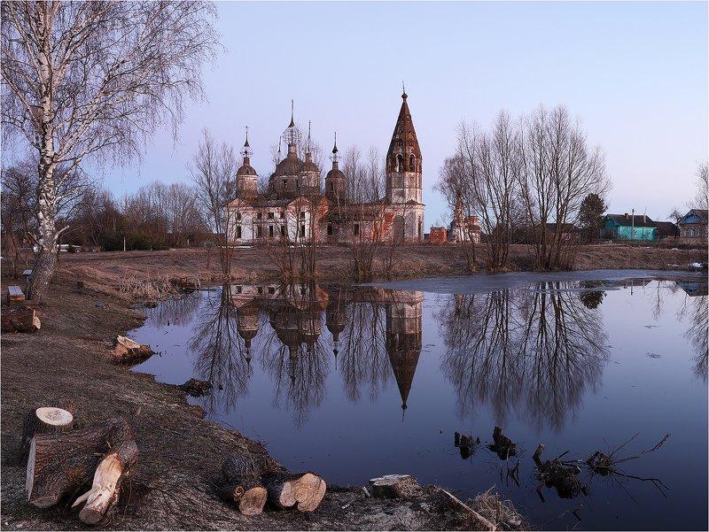 село, вечер, весна, пруд, отражение, храм, разрушенная церковь, Апрельский вечер.photo preview