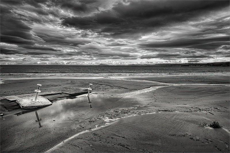 пляж, небо, облака, море Ненастье на побережьеphoto preview