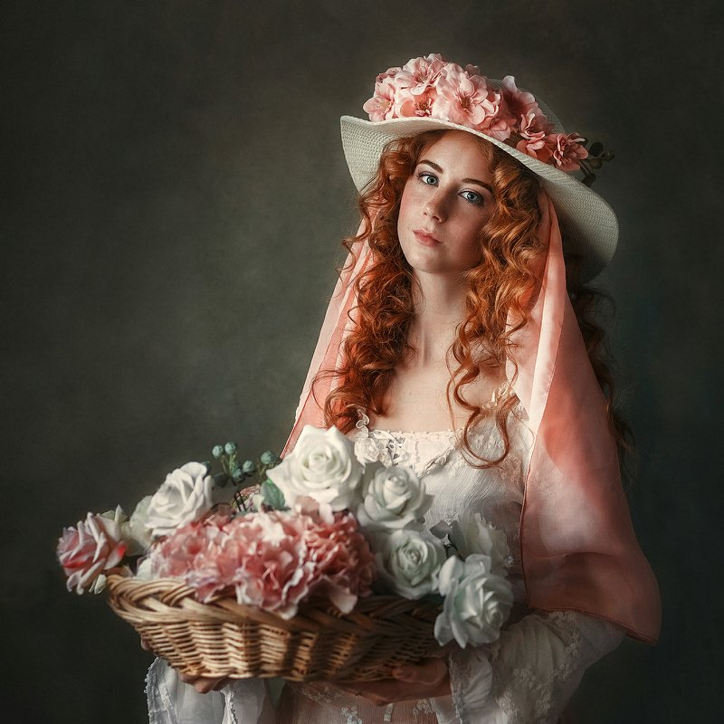 портрет, девушка, girl Цветочницаphoto preview