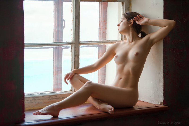 ню, девушка, грудь, обнажённая,окно photo preview