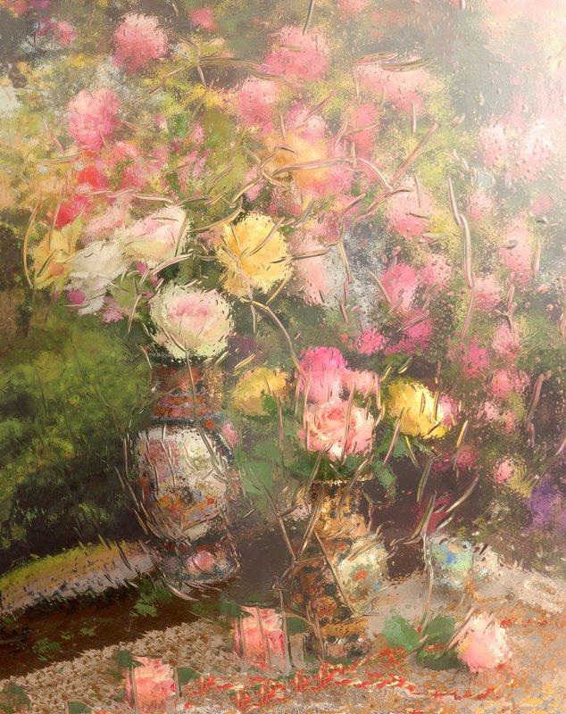 цветы, отражение, розы, акварель, лето, настроение, букет Натюрморт с цветамиphoto preview