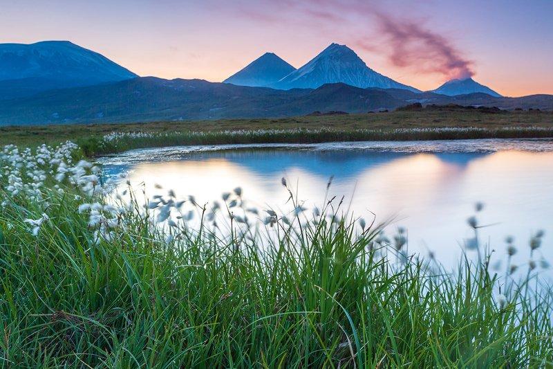 камчатка, пейзаж, лето, рассвет, пейзаж, природа, путешествие, фототур, озеро Утро в Долине Великановphoto preview