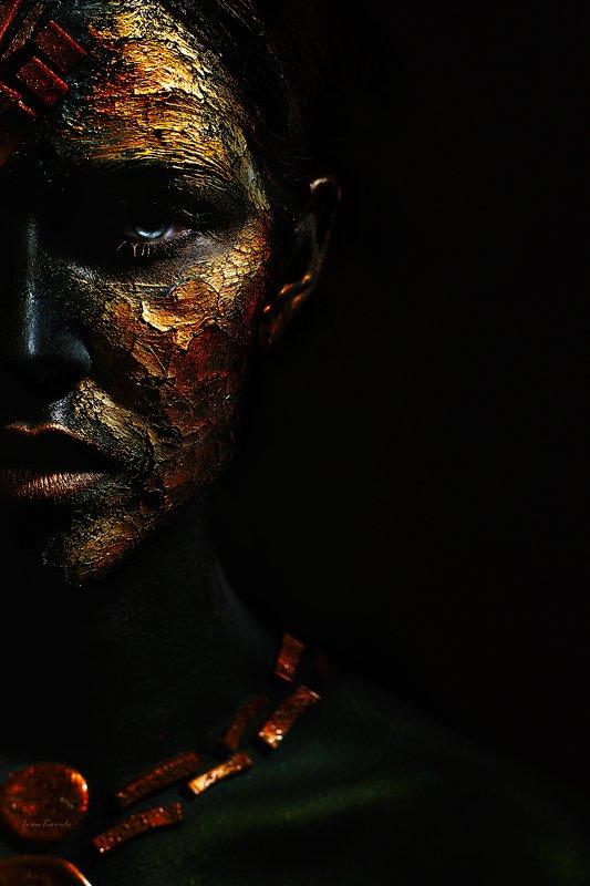 портрет, девушка, половина, лицо, арт, макияж, космос, текстура, ivankovale Завоевательphoto preview