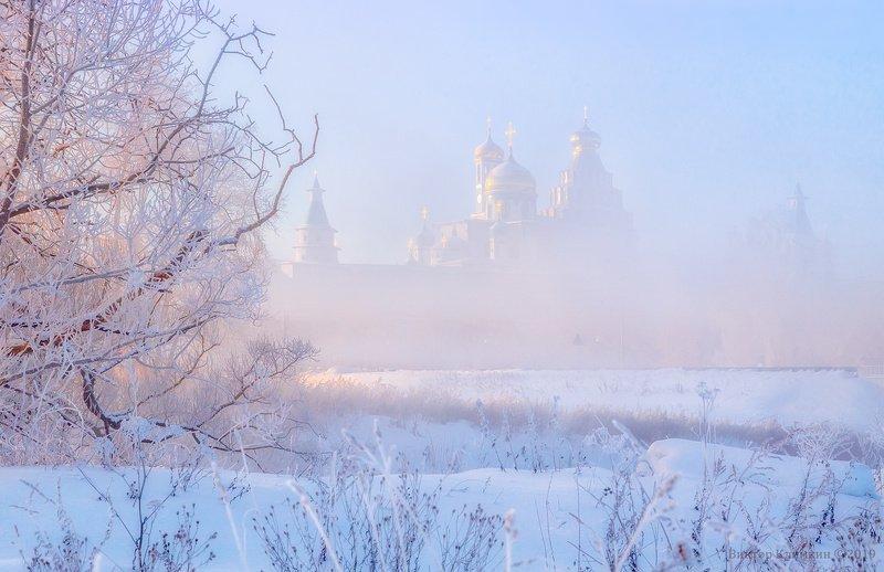 утро, рассвет, зима, истра, новоиерусалимский монастырь Зимнее утроphoto preview