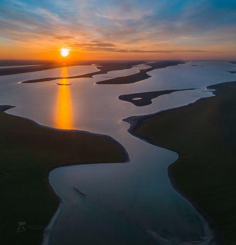 Озеро Маныч с высоты птичьего полёта