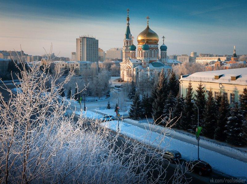 Омск, иней, мороз, зима, снег, церковь, храм, город, крыша, пейзаж, Россия, пейзаж Соборная площадьphoto preview