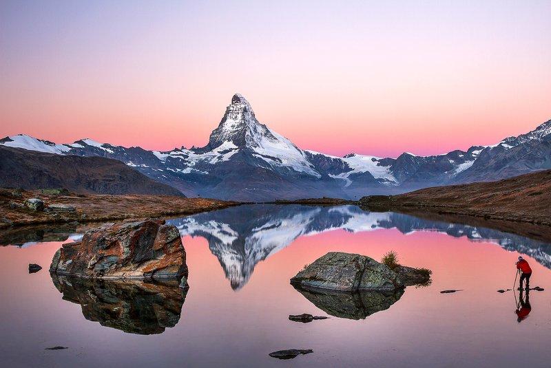 mountains, matterhorn, swiss, sunrise, landscape, nature, travel, autumn, peak, clouds, lake, reflection Perfect Jobphoto preview