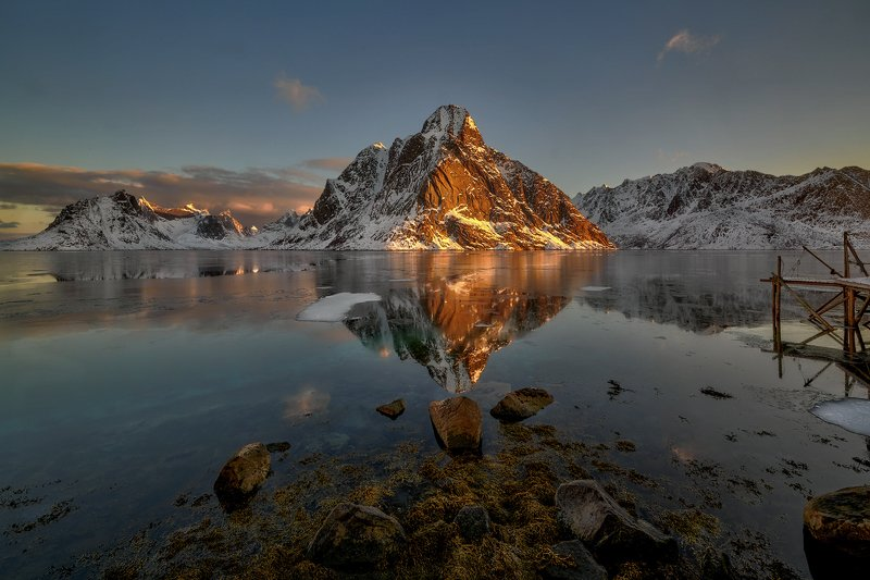 norway, winter, lofoten islands, reine, snow, frozen, sea Dawn in Reine  II , Norwayphoto preview