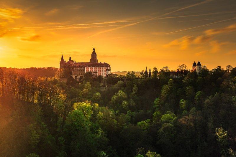longexposure, sunrise, sunset, clouds, castle Ksiaz Castlephoto preview