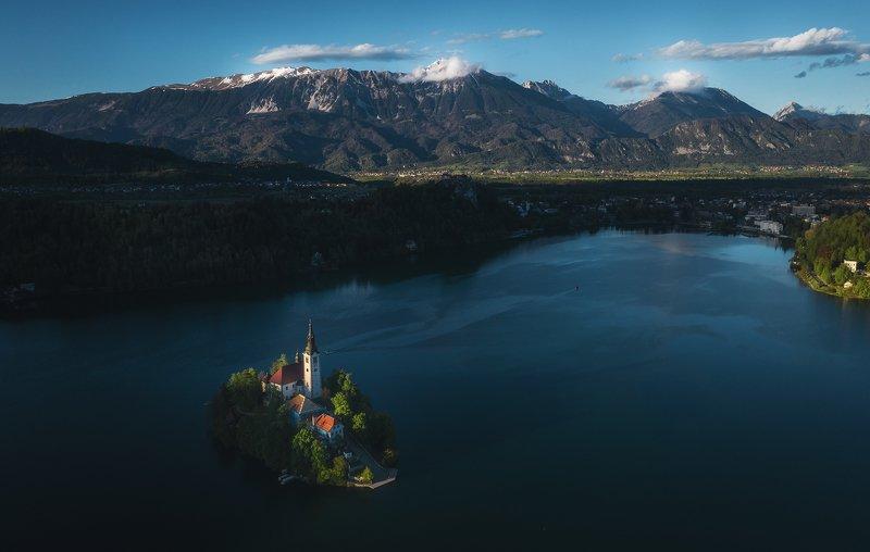 slovenia, bled, lake, alps, dusk, evening, landscape, словения, озеро, блед, альпы, вечер, пейзаж Bled lake at eveningphoto preview