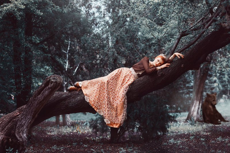 арт, лес, сад, девушка, рыжая, медвежонок, сказка, художественный ***photo preview
