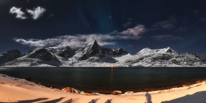 night, star, mysty, lofoten, moonlight, light, beach, seascape, mountains In The Moonlightphoto preview