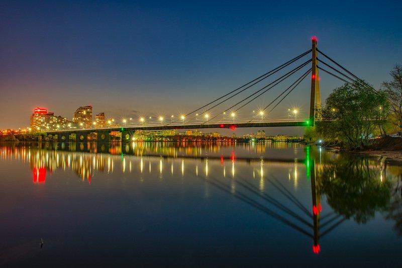 bridge, river, cityscape, night, reflection, sky, lights Северный мостphoto preview