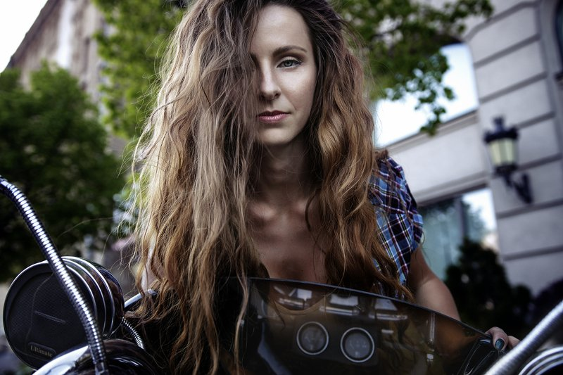 motorcycle, female, portrait, outdoor, long hair, мотоцикл, девушка,  Дианаphoto preview