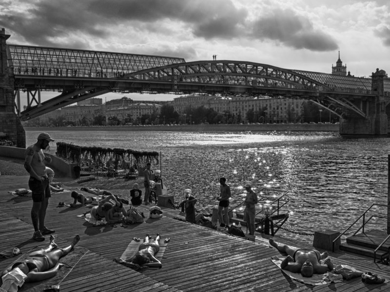 Black and white, Monochrome, Moscow, Russia, Street At the olive beachphoto preview