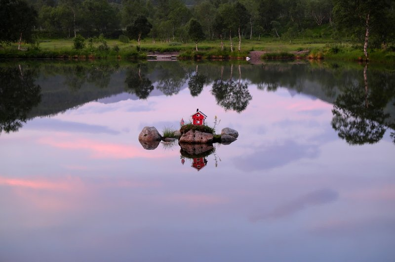 норвегия, лофотены, отражение, небо, дом, озеро, norway, lofotens, reflection, sky, house, lake Up!photo preview
