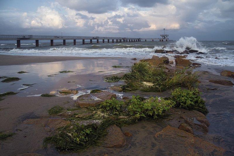 вечер, море, черное, волны, брызги, отражения, мост, берег, камни, трава, облака Море волнуетсяphoto preview