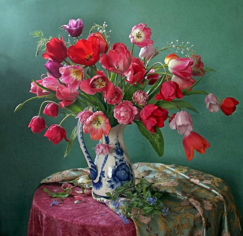 весна, натюрморт, букет цветов, тюльпаны, марина филатова Цветущий майphoto preview
