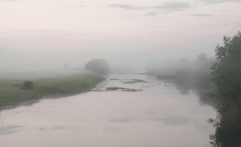 вологодская область, станция вожега, река вожега, деревня коневка,вечер,туман,июль Вечерний туманphoto preview