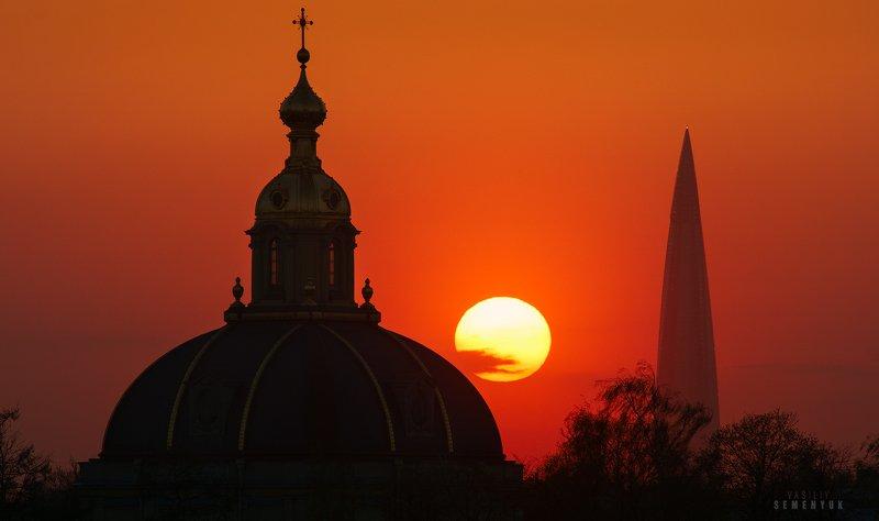 питер, петропавловский собор, башня газпрома, вечер, закат, солнце, городской пейзаж, saint-petersburg, city, gazprom tower, dusk, sunset, sun, cityscape, mood. Между прошлым и будущим.photo preview