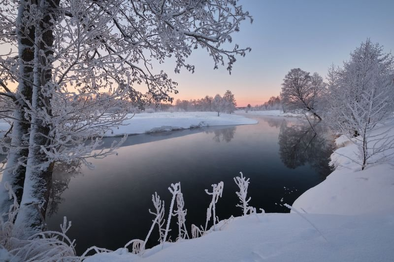 утро, река, рассвет, закат, туман, иней Рассветы и закатыphoto preview