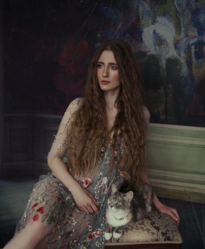 портрет,картина,девушка,скошкой,кошка,портретскошкой Анжелика и котphoto preview