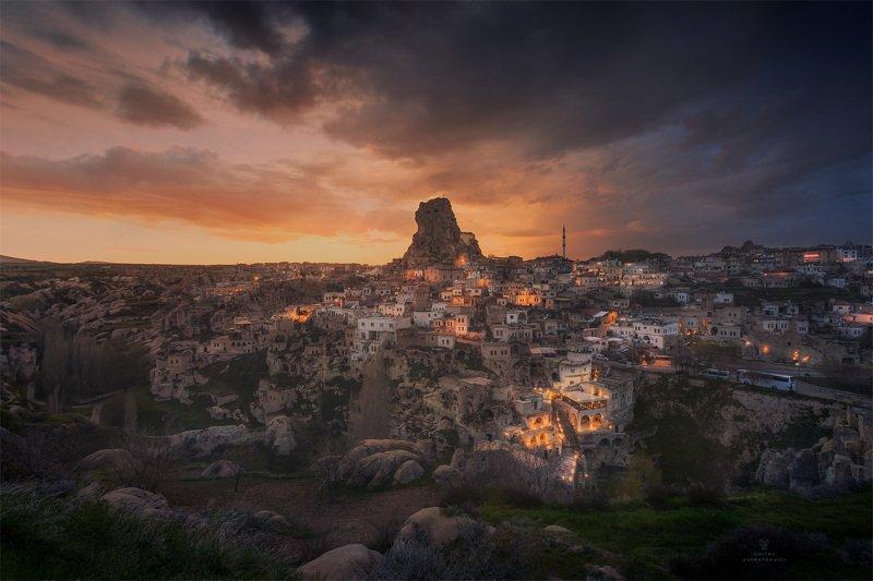 турция, каппадокия, вечер, закат, город Огни Ортахисараphoto preview