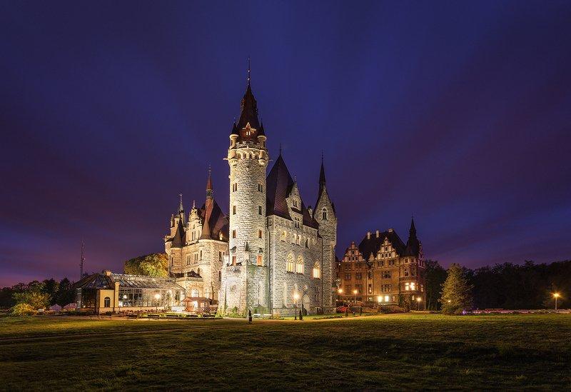moszna, castle, poland, night, landscape, Moszna Castle, Polandphoto preview