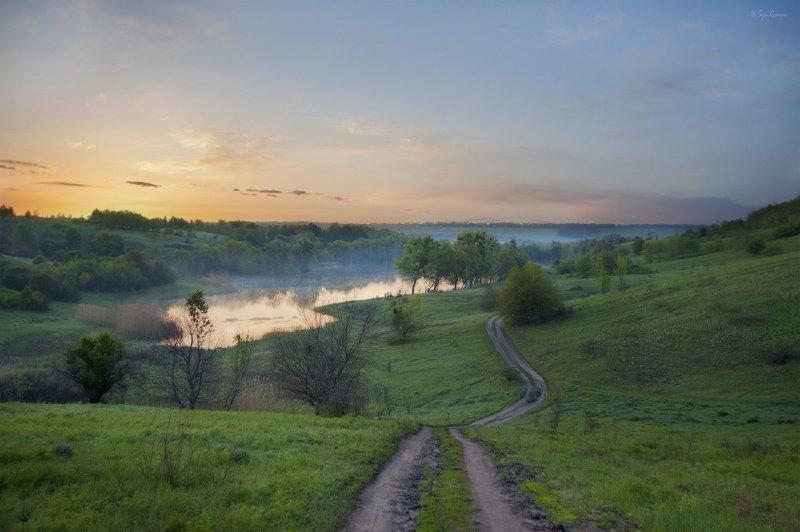 весна,утро,дорога,поле,озеро,пейзаж По дороге на рыбалку ...photo preview