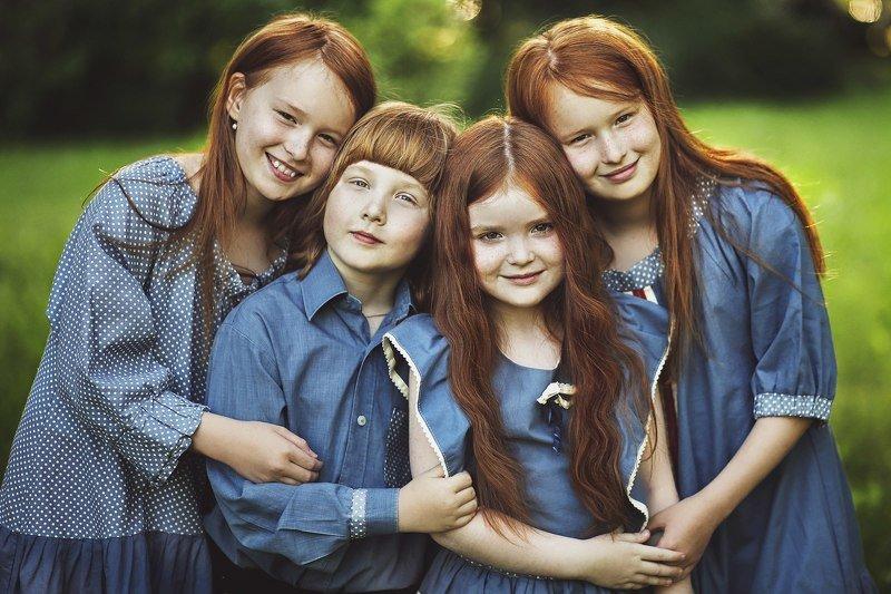 рыжие лето дети Рыжикиphoto preview