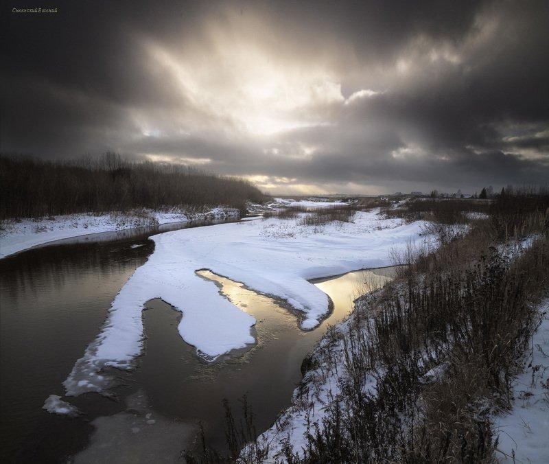 осень, ноябрь, снег, закат, река, вечер Поздняя осеньphoto preview
