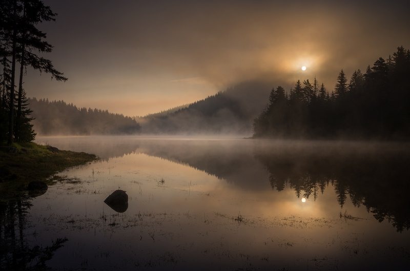 landscape nature scenery lake wood mist misty fog foggy light sunlight morning sunrise reflections mountain rhodopi bulgaria туман озеро утро Looking in a mirrorphoto preview