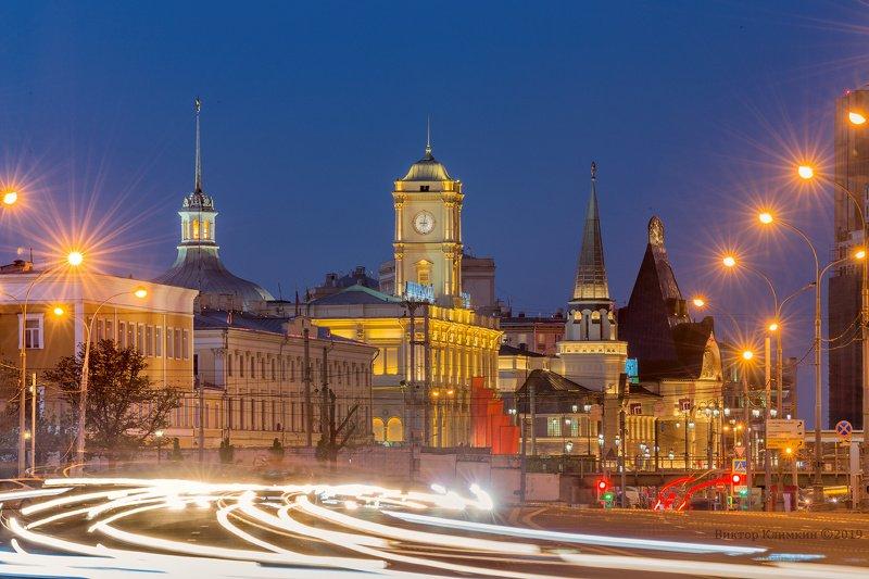 москва, вечер, огни, фонари, вокзал, ярославский, ленинградский, шехтель Огни Москвыphoto preview