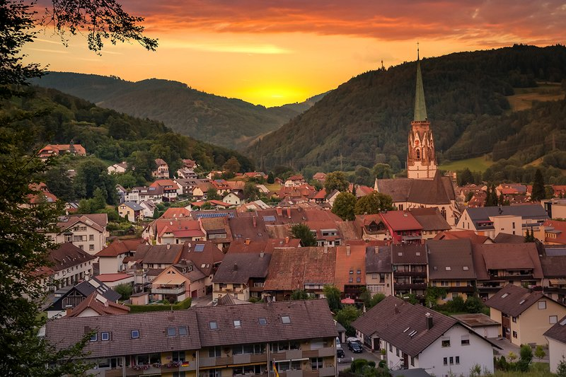 landscape, sunset, mountains, city, germany, church city in black forestphoto preview
