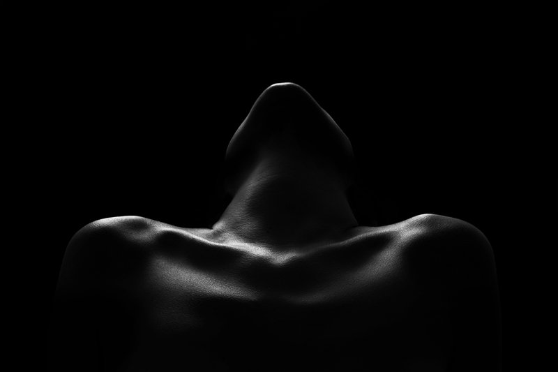 silhouette, woman, sensitive, body, shoulders, black and white, Evocationphoto preview
