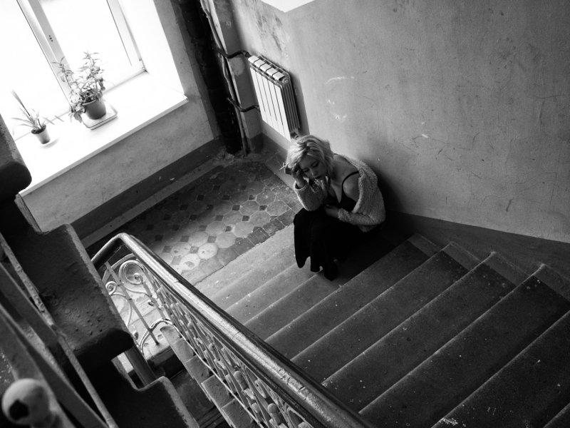 Moscow, Russia, Black and white, Monochrome, Portrait Springtime sadnessphoto preview